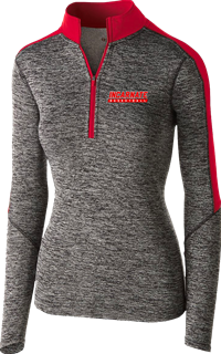 Holloway Womens Electrify 1/4 zip- Dk Grey/Red